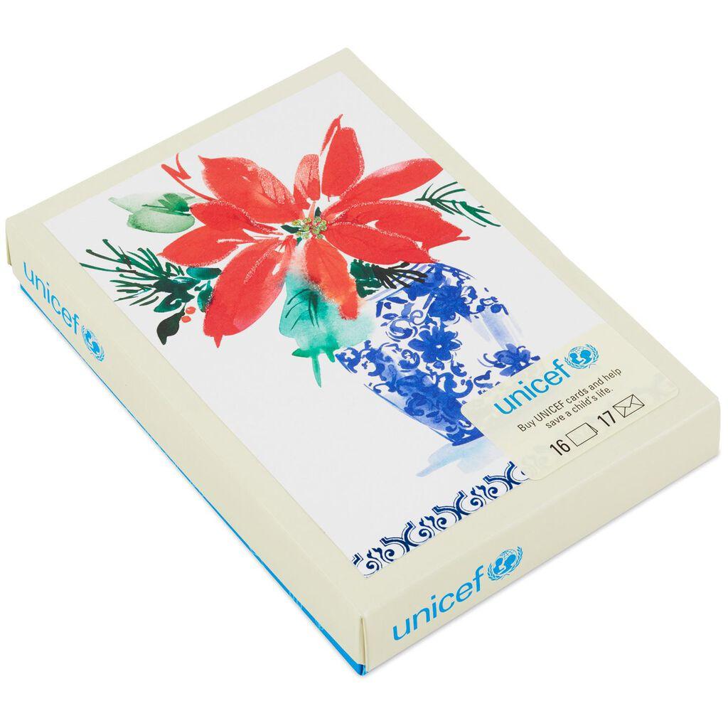 UNICEF Poinsettia Christmas Cards, Box of 16 - Boxed Cards - Hallmark