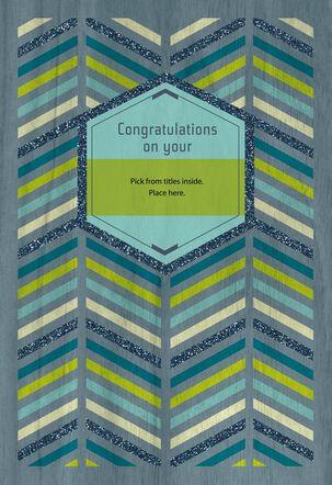 Blue, Green and Gray Chevron Custom Graduation Card