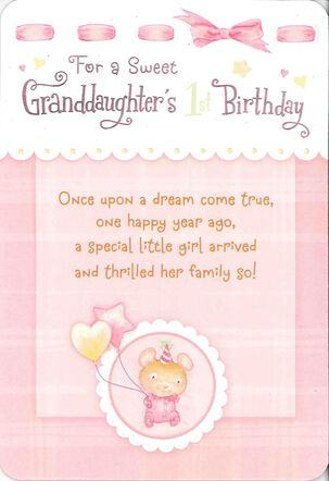 For a Sweet Granddaughter's First Birthday Card
