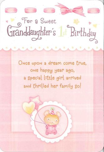 For A Sweet Granddaughters First Birthday Card Greeting Cards