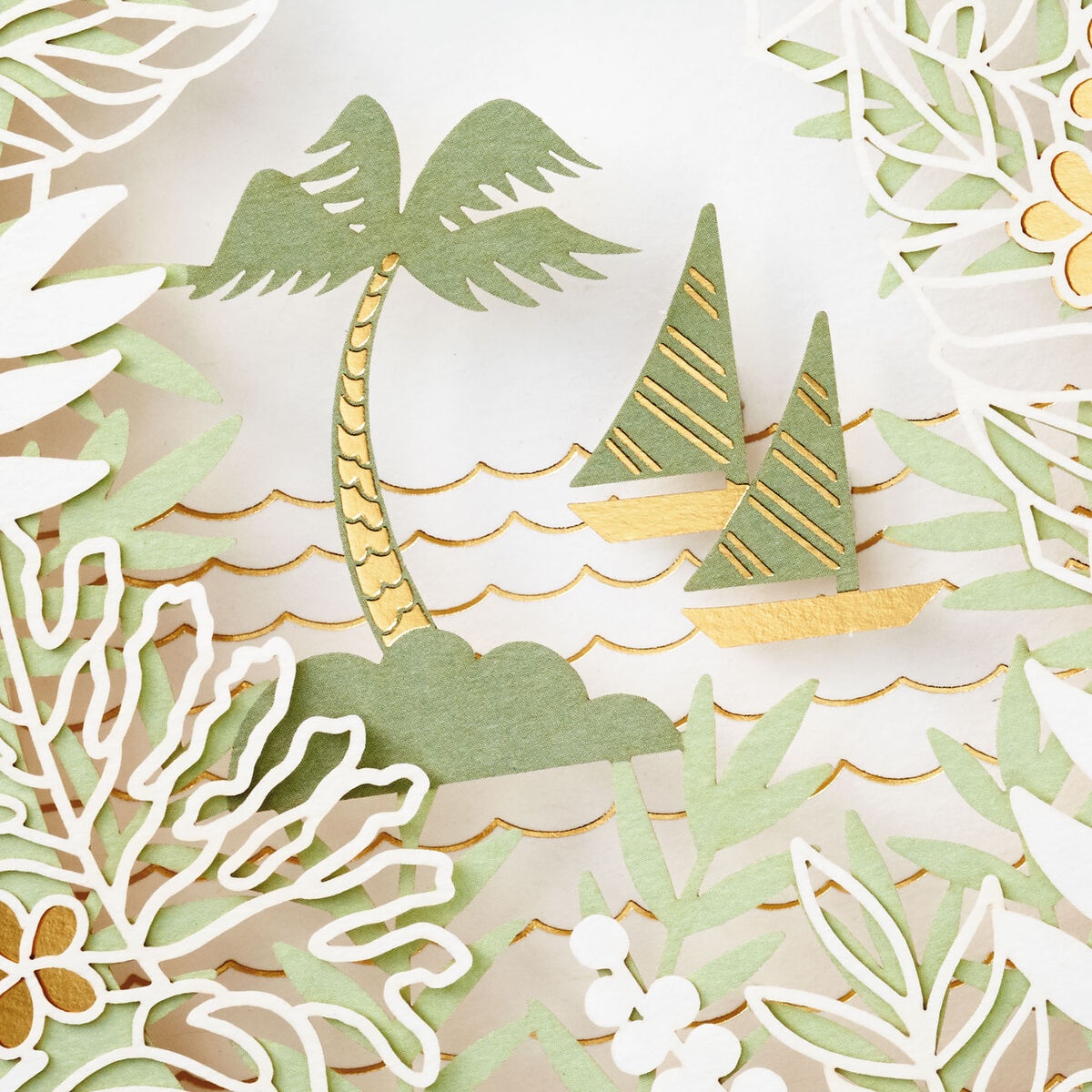 tropical island sailboats shadow box blank card  greeting