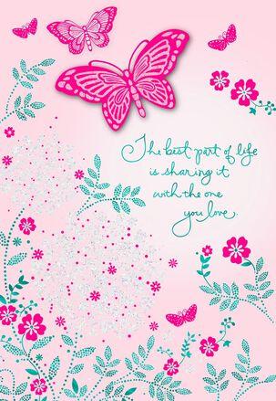 Pink Butterfly Garden Wife Card