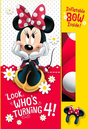 Minnie Mouse 4th Birthday Card With Inflatable Bow