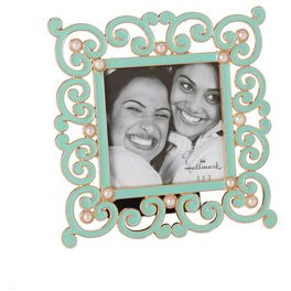 Teal Metal and Pearl 3x3 Picture Frame, , large
