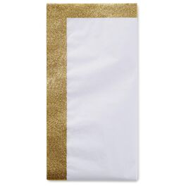 White Tissue Paper With Gold Glitter Edges, 4 Sheets, , large