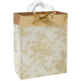 "Gold Toile Large Gift Bag, 13"", , large"