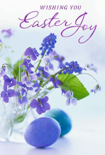 Violet Flowers Easter Cards, Pack of 6,