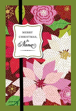 Colorful Poinsettias Christmas Card for Nana