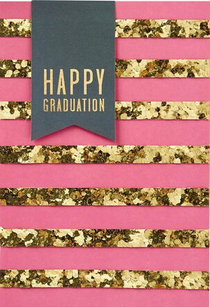 Gold Stripes Happy Graduation Card