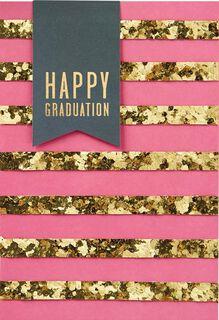 Gold Stripes Happy Graduation Card,