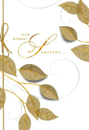 Golden Leaves Sympathy Card