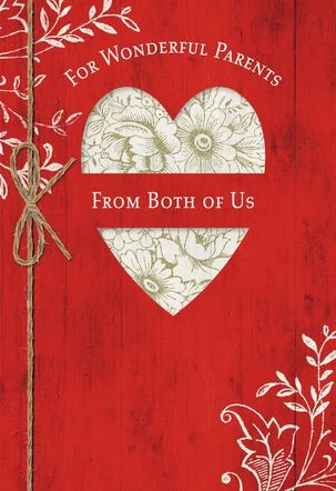 Rustic Heart Valentine's Day Card for Parents From Both of Us