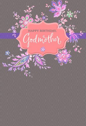 Pink Flowers Birthday Card for Godmother