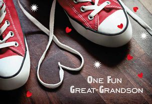 Sneaker Laces Fun Great-Grandson Valentine's Day Card