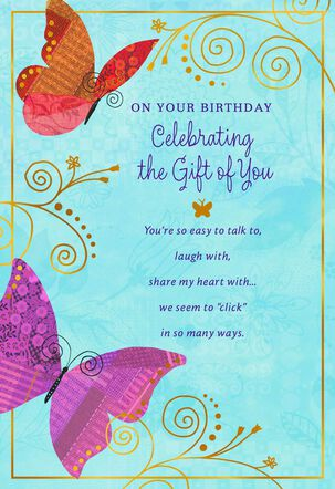 Butterflies and Swirls on Blue Birthday Card