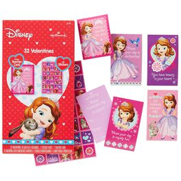 Sofia the First Kids' Valentines With Stickers, 32 Pack, , large