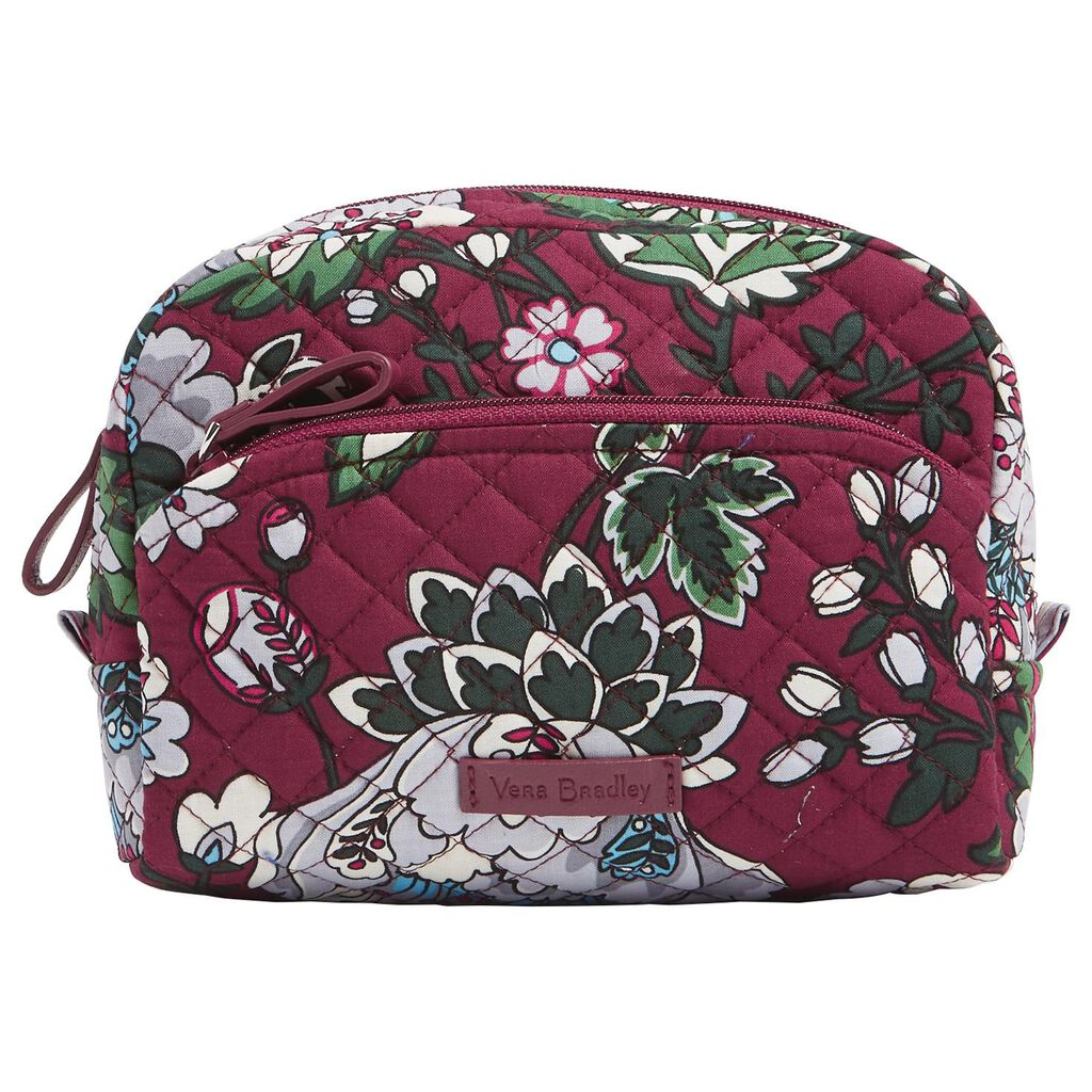 Vera Bradley Iconic Medium Cosmetic Bag in Bordeaux Blooms - Travel ... a5595344de