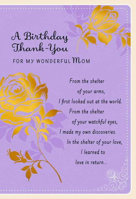 Two Roses Thank You Birthday Card For Mom Greeting Cards Hallmark
