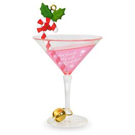 Cheers to Friends! Festive Candy Cane Drink Ornament, , large