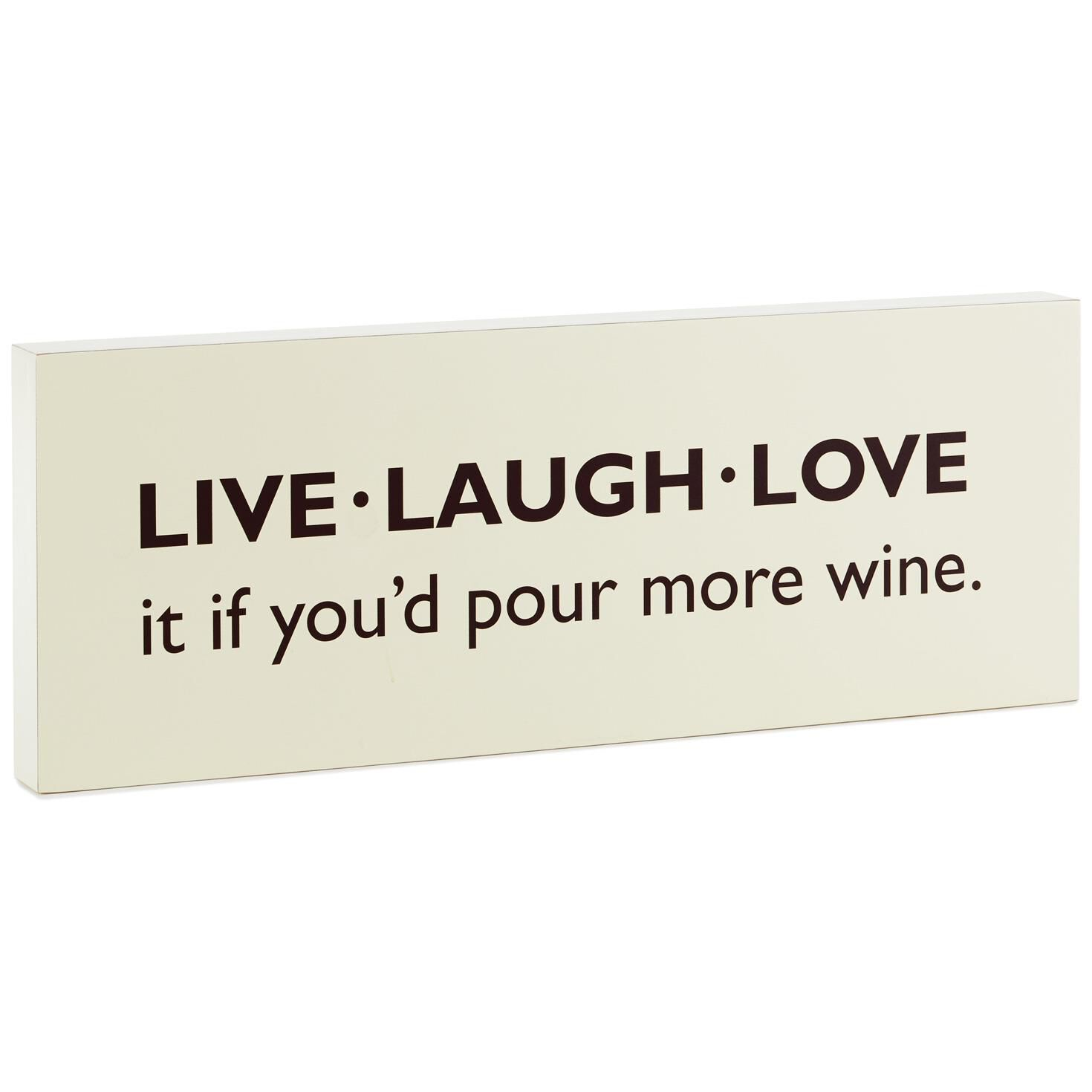 Live Laugh Love Wine Wood Quote Sign, 15.7x5.8
