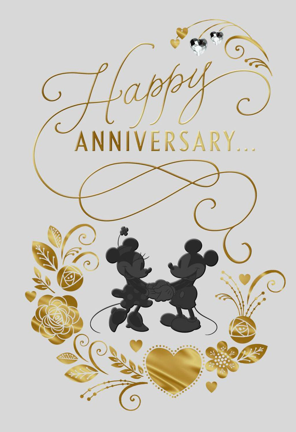 Mickey And Minnie Anniversary Card For Couple Greeting Cards