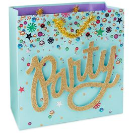 "Gold Party on Turquoise Large Square Gift Bag, 10.5"", , large"