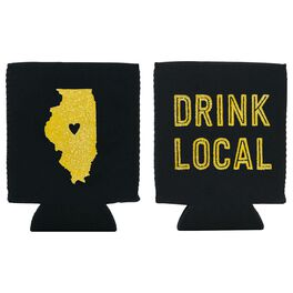 "Illinois State Silhouette ""Drink Local"" Koozie, , large"