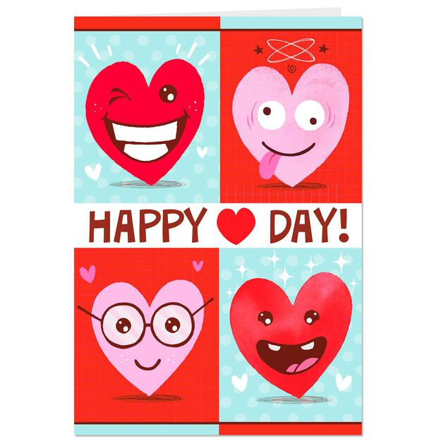heart faces valentines day cards pack of 6 with stickers