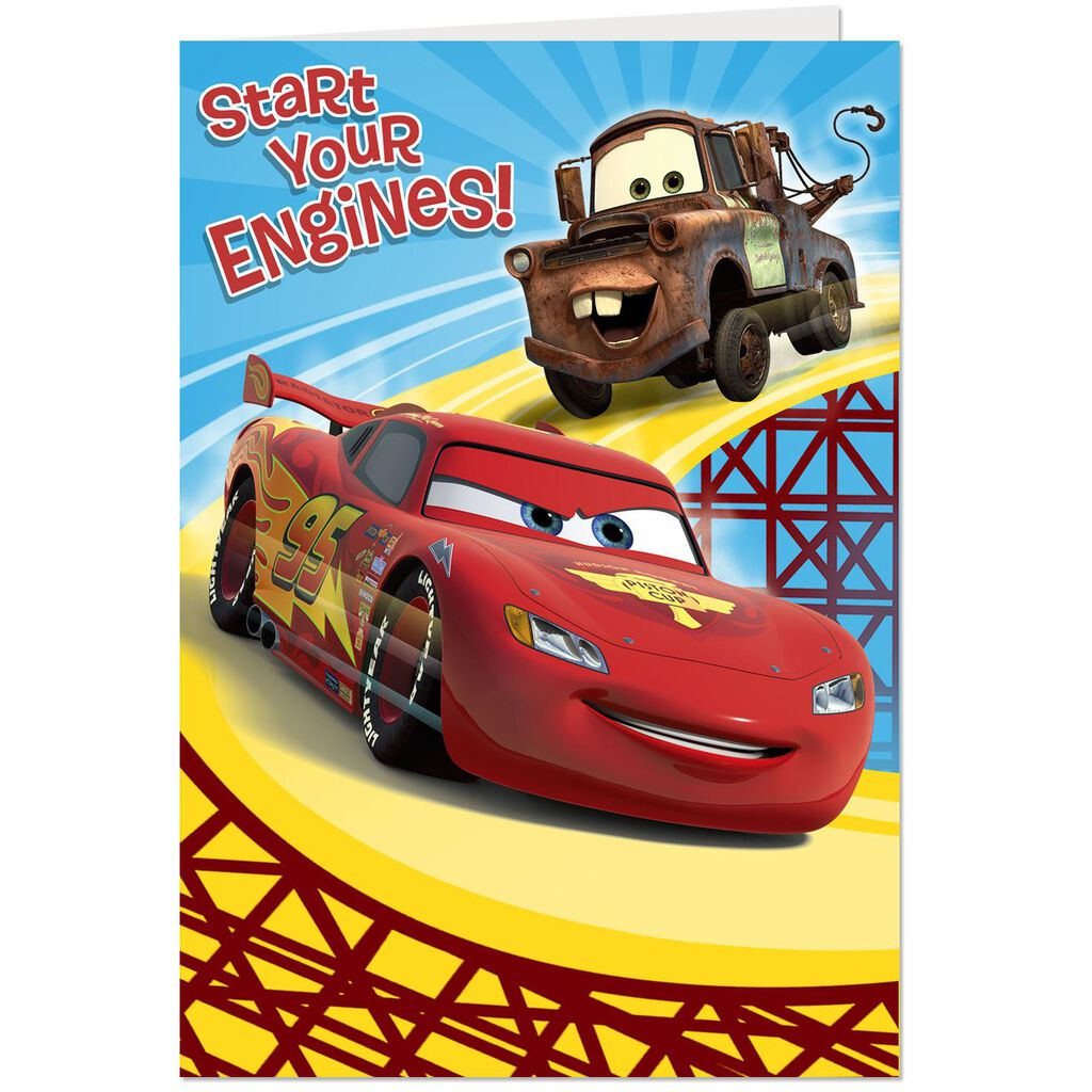 Disney Pixar Cars Lightning McQueen And Mater Start Your Engines Birthday Card