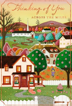 Fall Town Across the Miles Thanksgiving Card