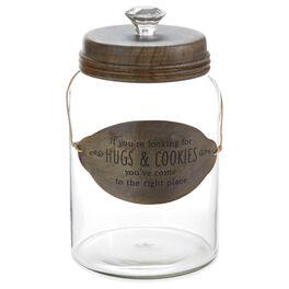 Hugs & Cookies Glass Cookie Jar, , large