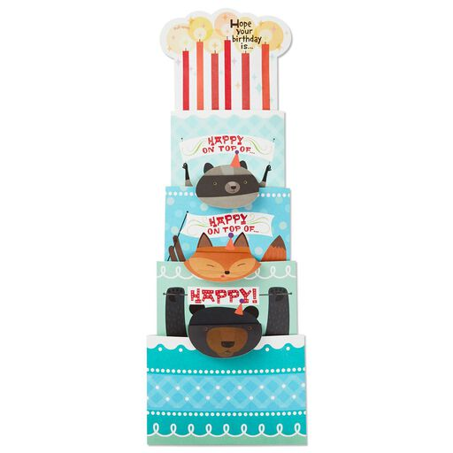 Cake And Candles Telescoping Musical Birthday Card