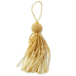Gold Beaded Tassel Gift Trim, , large