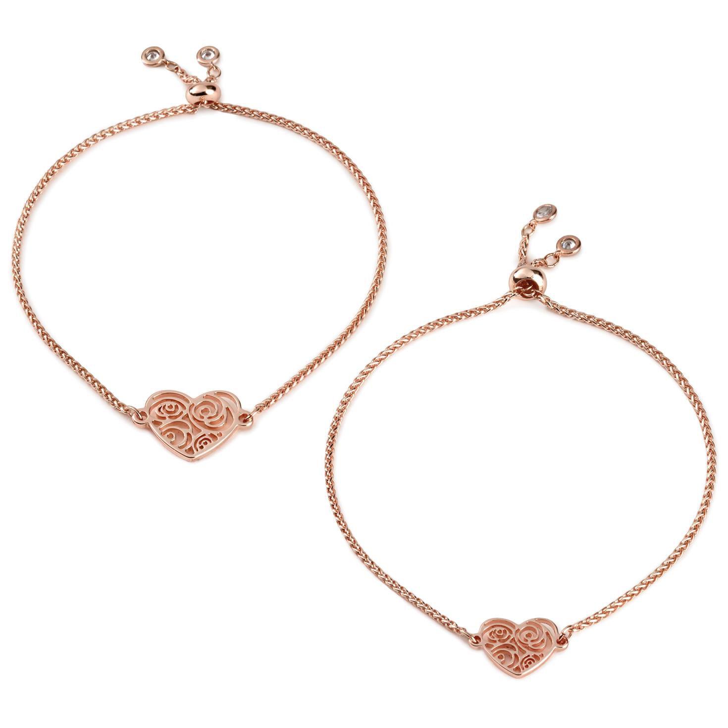 Mark Hall Rose Gold Filigree Heart Bolo Bracelets Set of 2