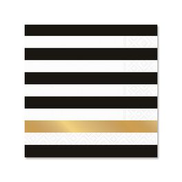 Kenzie Black & Gold Stripe Cocktail Napkins, Pack of 12, , large
