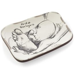 Love Begins New Baby Family Ceramic Tray, , large