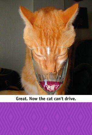 Wine Tasting Cat Funny Birthday Card