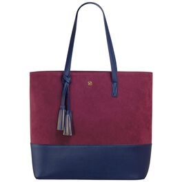 Mark & Hall Navy and Wine Colorblock Tote Bag, , large