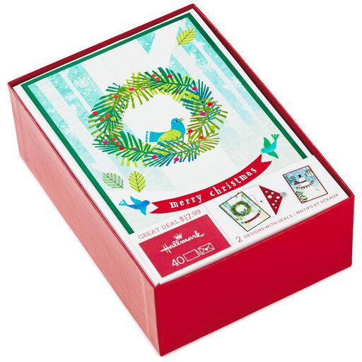 Smiling Snowman And Holiday Wreath Assorted Christmas Cards Box Of 40