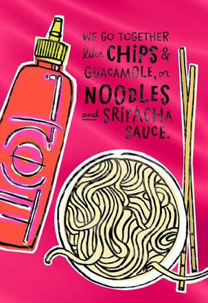 Sriracha and Noodles Valentine's Day Card