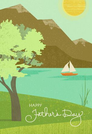 Sailboat on Lake  Father's Day Card for Father-in-Law
