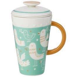 Blue Ceramic Mug With Tea Infuser and Lid, 10 oz., , large