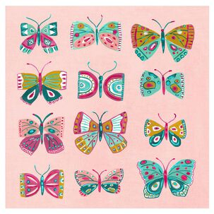 Colorful Butterflies on Pink Blank Card