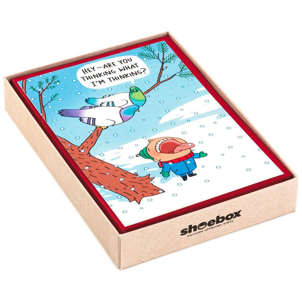 naughty birds funny christmas cards box of 16 boxed cards hallmark - Shoebox Christmas Cards