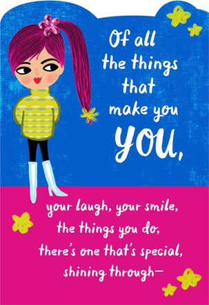 Girl With Ponytail Religious Thinking of You Card for Kids