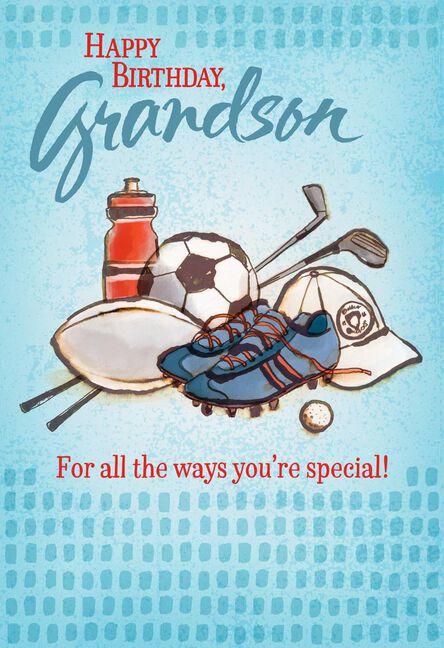 Sports Equipment Birthday Card For Grandson