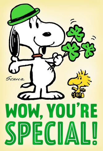 Peanuts Snoopy St Patricks Day Birthday Card Greeting Cards