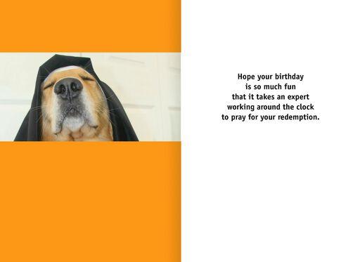 Dog Dressed as a Nun Funny Birthday Card,