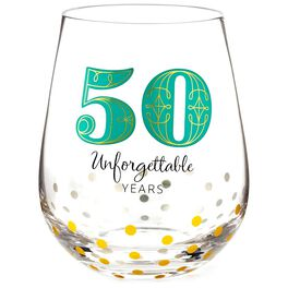 50 Unforgettable Years Stemless Wine Glass, , large
