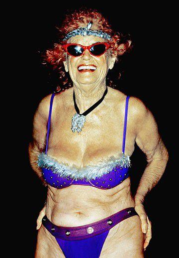 in bikini lady Old a